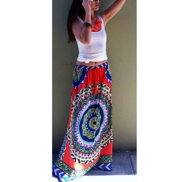 adadeb57711142 Hot Women Gypsy Boho Floral Maxi Skirt Summer Beach Long Casual Club Skirts  X09