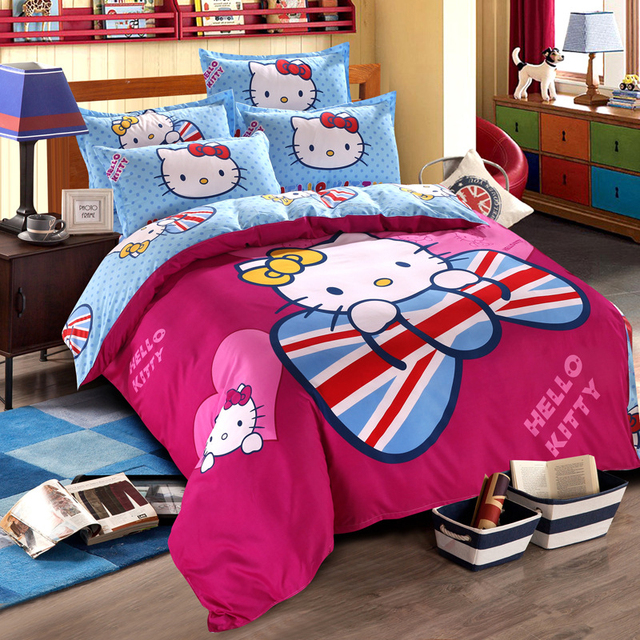Cotton Hello Kitty Bedding Set Kids Cartoon Love Bowknot Printed Bed Linen  For Christmas Gift Twin