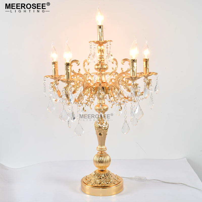 Vintage Silver Gold Bronze color Table lamp Luxurious Clear crystal desk light with Wedding for Hotel Restaurant Bedroom