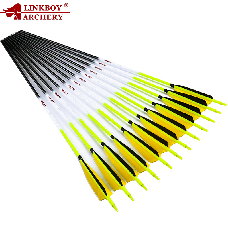 6pcs Linkboy Archery Carbon Arrows 30 32 SP300 600 ID6 2 5inch Turkey Feather Nock Arrow