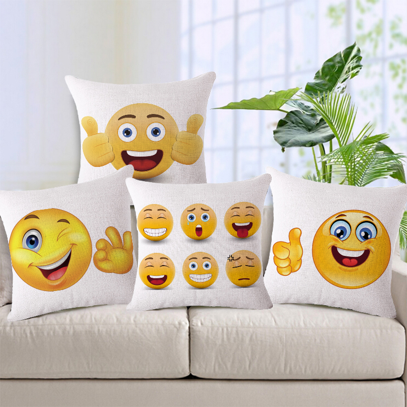 2016 New 45x45cm Square Emoji Like Decorative Throw Cushion Cover for Sofa Couch Love Seat Pillow Case Home&Car Decor Gift