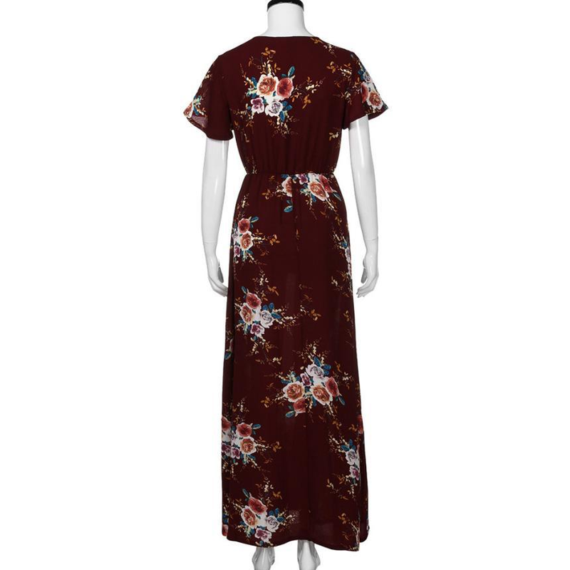 2019 Sexy V Collar Short Sleeve Loose Waist Printed Long Dress Elegant Women Chiffon Party Club Dress Bohemian Beach Vestidos in Dresses from Women 39 s Clothing