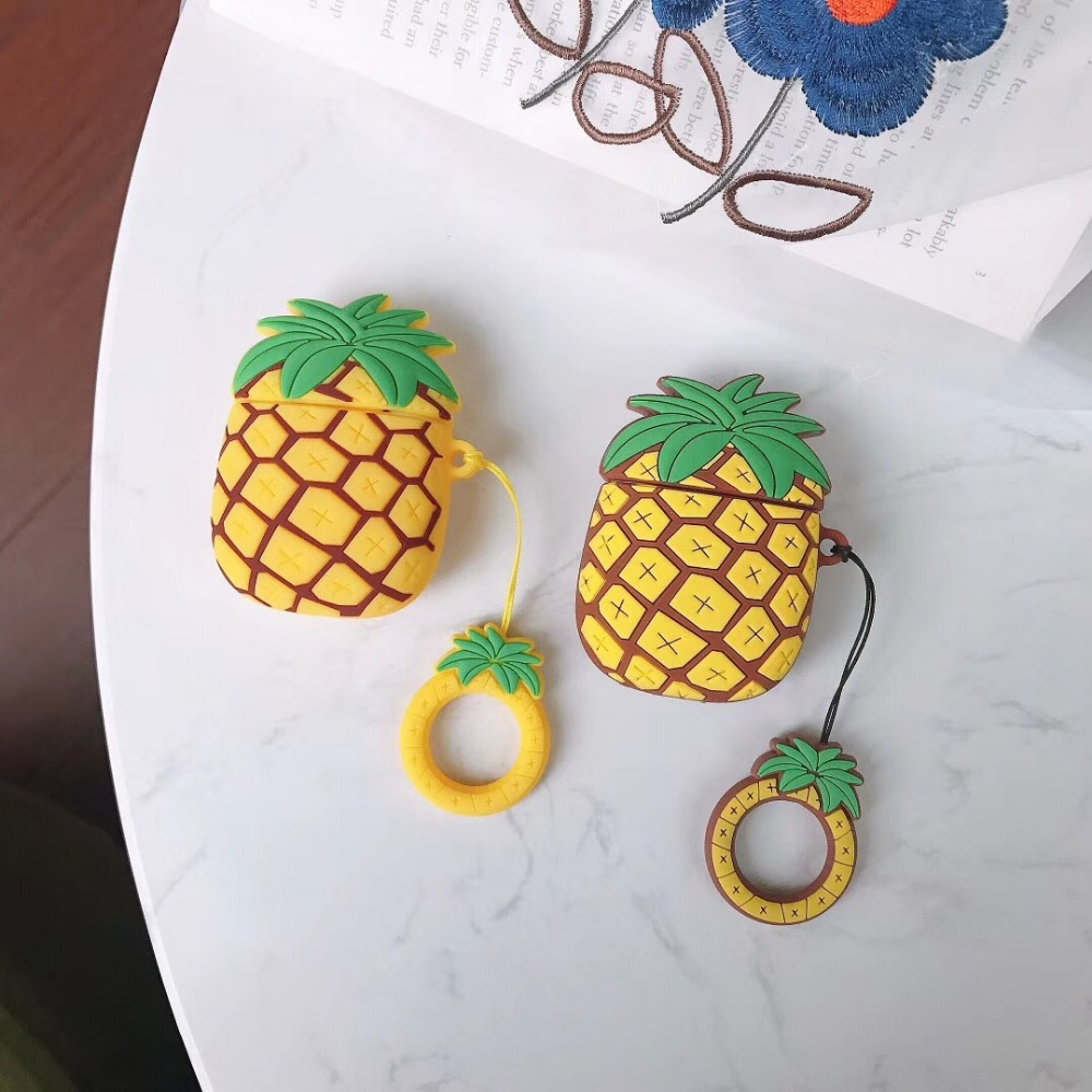 Image 2 - cartoon 3D pineapple Earphone Headset Accessories Silicone protection case For Airpods Wireless Bluetooth Headset bags-in Earphone Accessories from Consumer Electronics