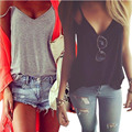 HOT 2016 Women Summer Clothing Spaghetti Strap cotton Shirt Vest tshirts Top Roupas Femininas Beach Backless Halter Tops W1