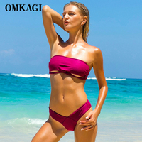 OMKAGI Brand Swimsuit Swimwear Women Sexy Push Up Off Shoulder Swimming Bathing Suit Beachwear Bikinis Set