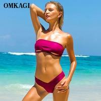 OMKAGI Brand Swimsuit Swimwear Women Sexy Push Up Off Shoulder Swimming Bathing Suit Beachwear Bikinis Set