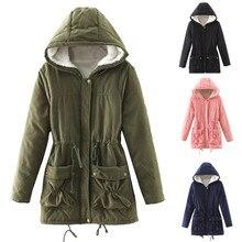Womens cotton clothes Winter coat Warm Long Coat Fur Hoodies Collar Jacket Slim Parka Outwear Coats Y723