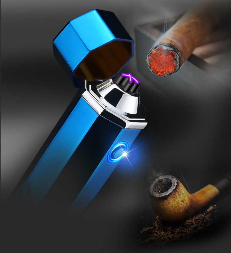 USB charge lighter cigarette lighter double arc metal shell new model Tobacco Weed Smoke rechargeable Tobacco Weed Smoke image
