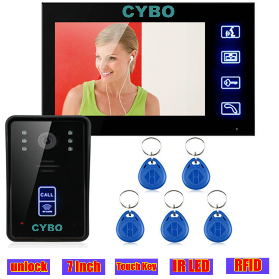 Wired Touch Key Video Door Phone Intercom monitor System Doorbell video 7 inch doorphone door camera RFID access control system 7 inch video doorbell tft lcd hd screen wired video doorphone for villa one monitor with one metal outdoor unit night vision