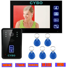 Wired Touch Key Video Door Phone Intercom monitor System Doorbell video 7 inch doorphone door camera RFID access control system