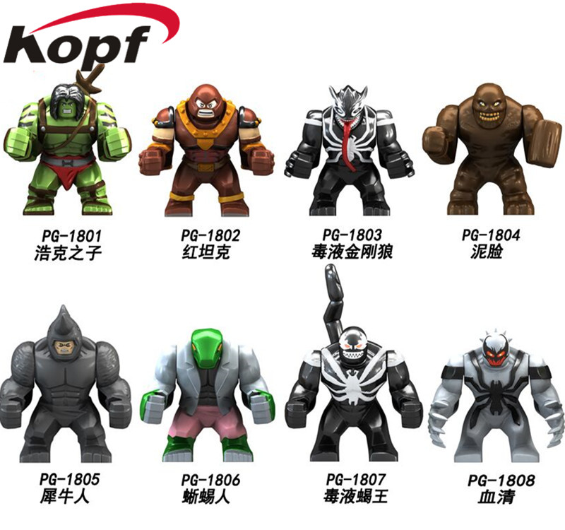 Single Sale Super Heroes Big Size Hulk Clayface Venom Wolverine Juggernaut Anti-Venom Building Blocks Children Gift Toys PG8118