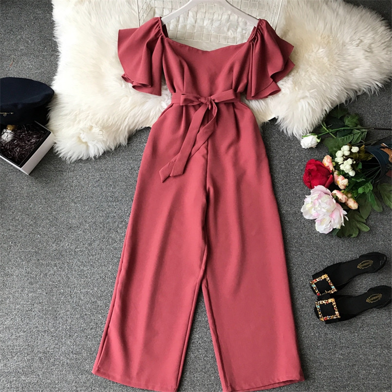 Fashion Solid Slim New Off Shoulder Jumpsuit Casual Sexy Women Bandage Playsuit Summer Long Full Length Overalls Vintage Romper 2