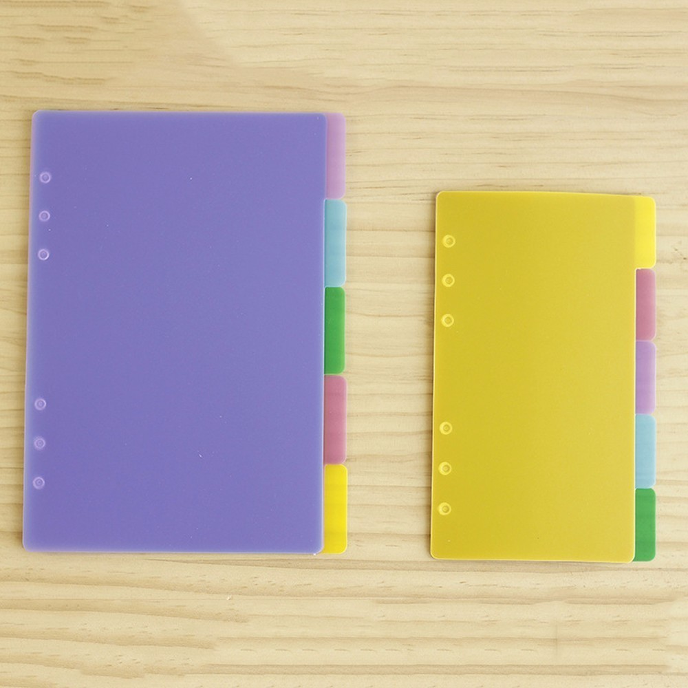 5 PCS/LOT Colorful Transparent PP Separator For Rings Notebook 6-hole Index Page A5 A6 Loose Leaf Diary Categories Clapboard