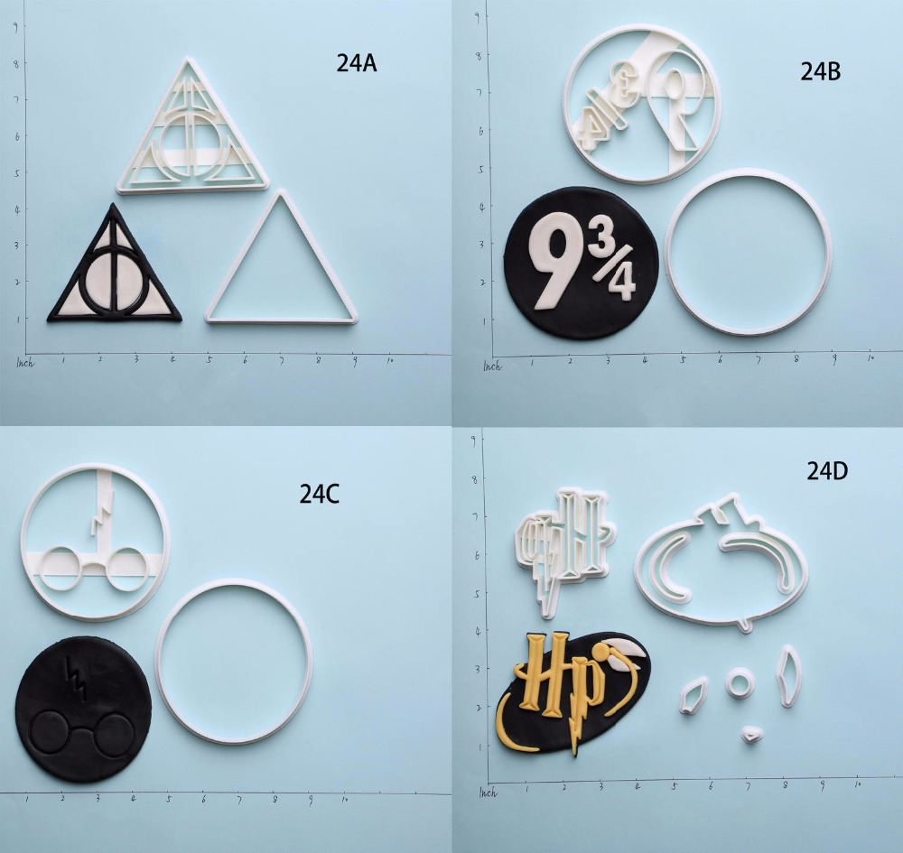 Hote sales Harry Potte Deathly Hallows Series Custom Made 3D Printed Fondant Cookie Cutter Set for Cake Decorating Moulds Tools