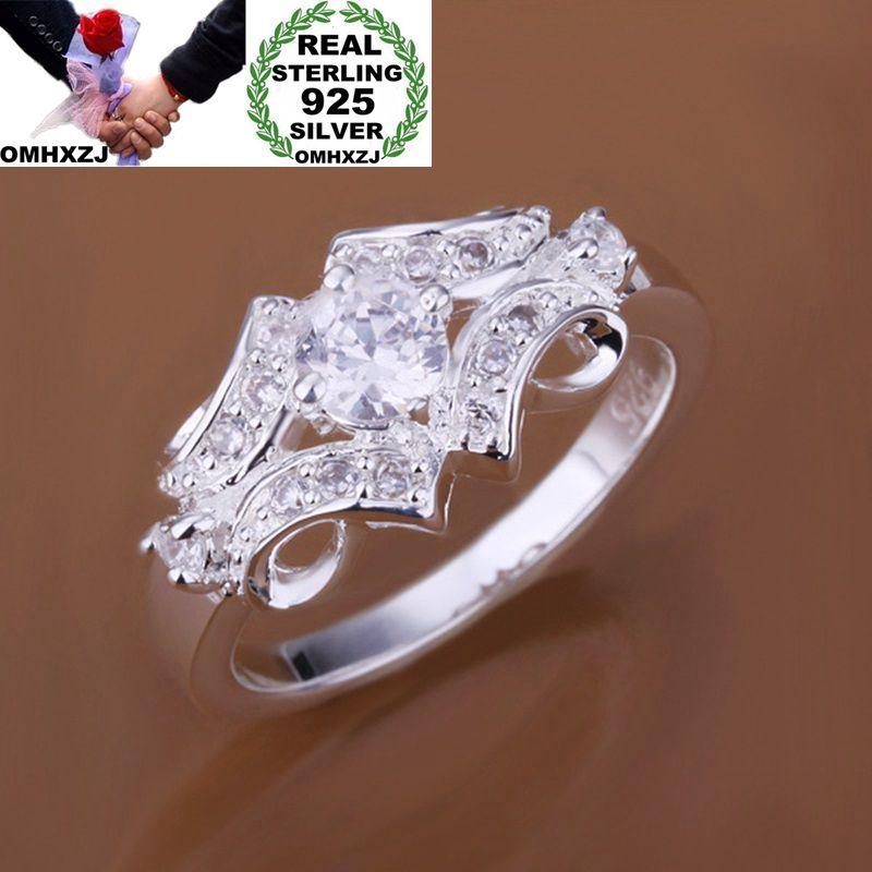 OMHXZJ Wholesale European Fashion Woman Girl Party Wedding Gift Luxury Silver White AAA Zircon 925 Sterling Silver Ring RR113