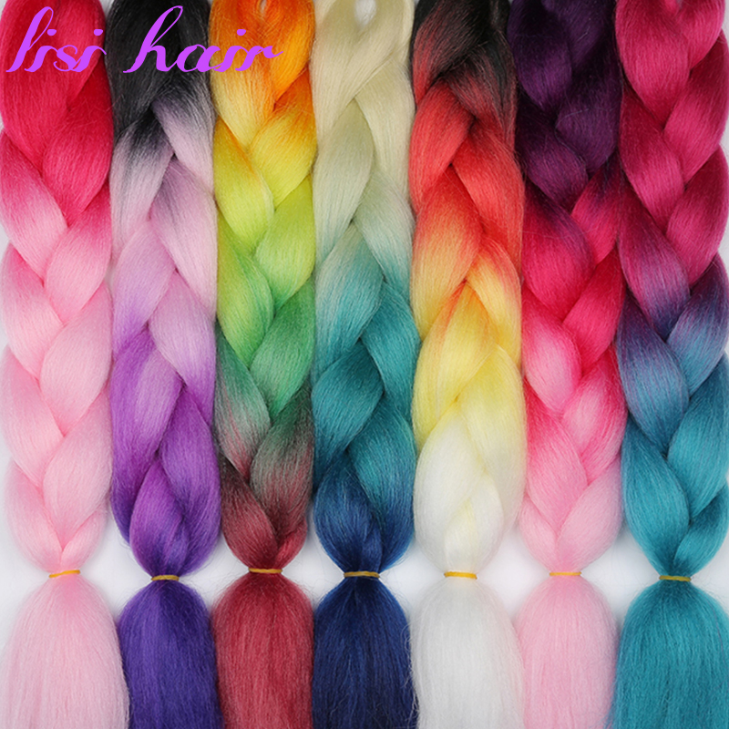 LISI HAIR Ombre  Jumbo Synthetic Braiding Hair Crochet Blonde Pink Grey Hair Extensions Jumbo Braids Hairstyles
