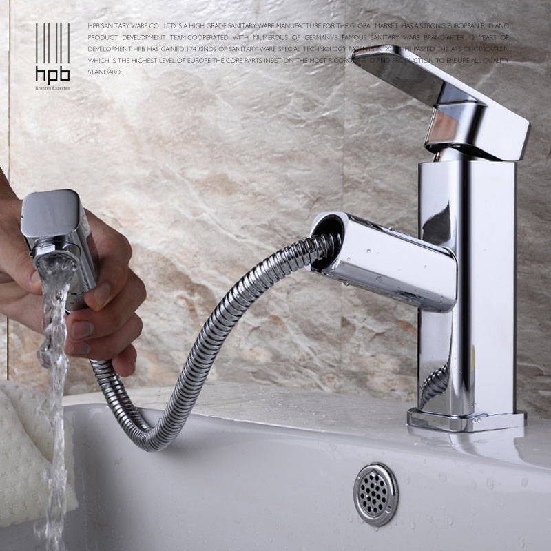 HPB Square Brass Pull Out Bathroom Faucet Basin Hot and Cold Water Mixer Tap Robinet torneira Chrome HP3013 hpb polished chrome bathroom basin faucet single handle sink mixer tap square style hot and cold water torneira