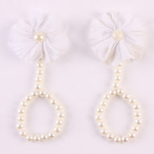 1Pair Fashion Beautiful Pearl Chiffon Barefoot Toddler Baby Foot Flower Anklet(China)