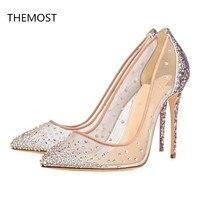 THEMOST Брендовая обувь блестящие пикантные туфли лодочки острый носок Для женщин высокий каблук сетки вечерние свадебные обувь на шпильках ш
