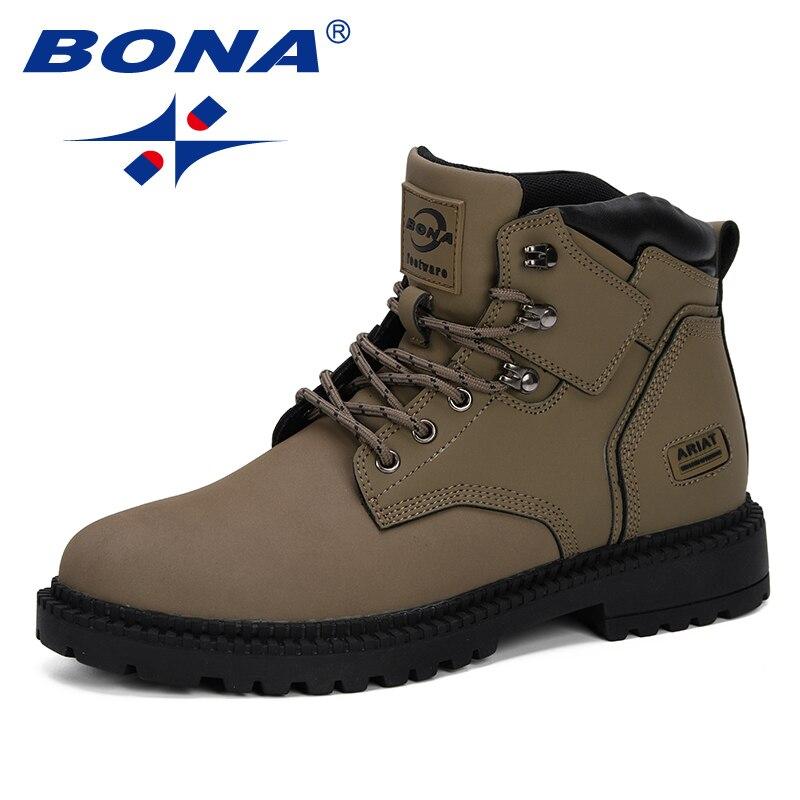 بونا نمط جديد 2019 الرجال الأحذية الخريف الشتاء أحذية الرجال حذاء من الجلد أحذية عمل الرجال الأحذية التكتيكية مريحة العصرية حذاء قصير-في أحذية برقبة أساسية من أحذية على  مجموعة 1