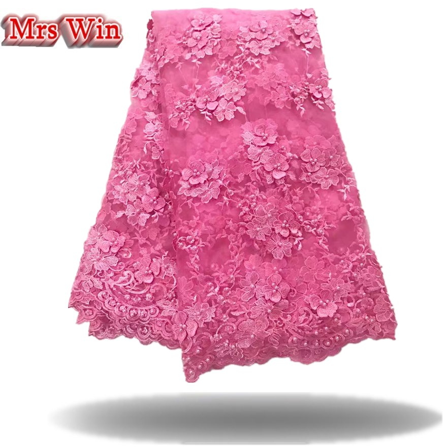 Top grade Silver African Handcut organza lace Nigeria garden sewing lace fabric with Lots of stones 3d floral 5 yards Hot Sale