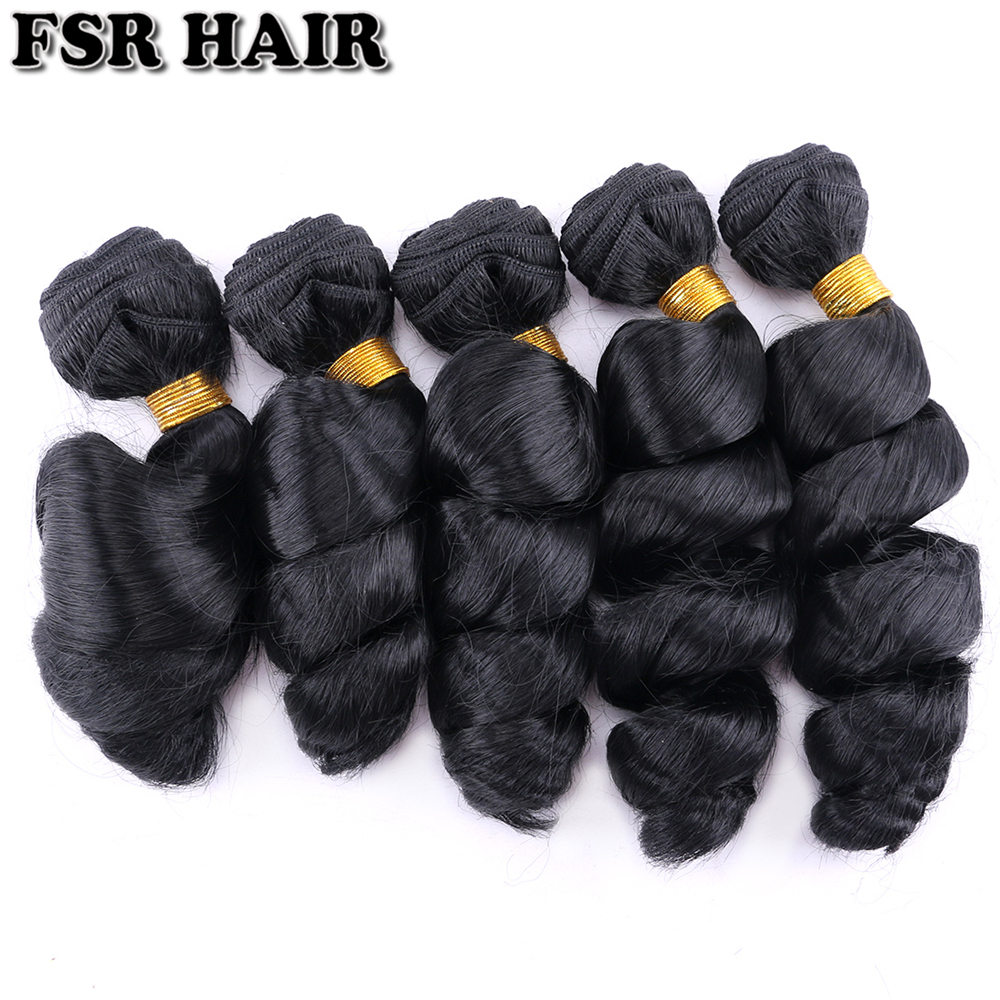 100Gram/pcs Loose Wave Bundles Black Color Synthetic Hair Extensions 12-20 Inch Tissage Fiber Hair Weaving