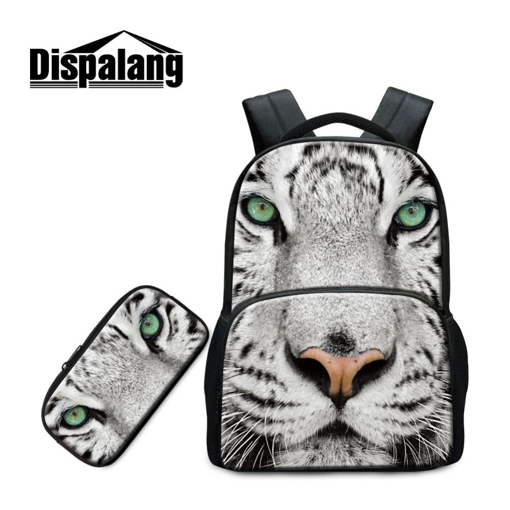 Dispalang Animal sac à dos modèles pour les étudiants du collège tigre loup imprimé école crayon sac ordinateur portable Bookbag pour garçon Cool cartable