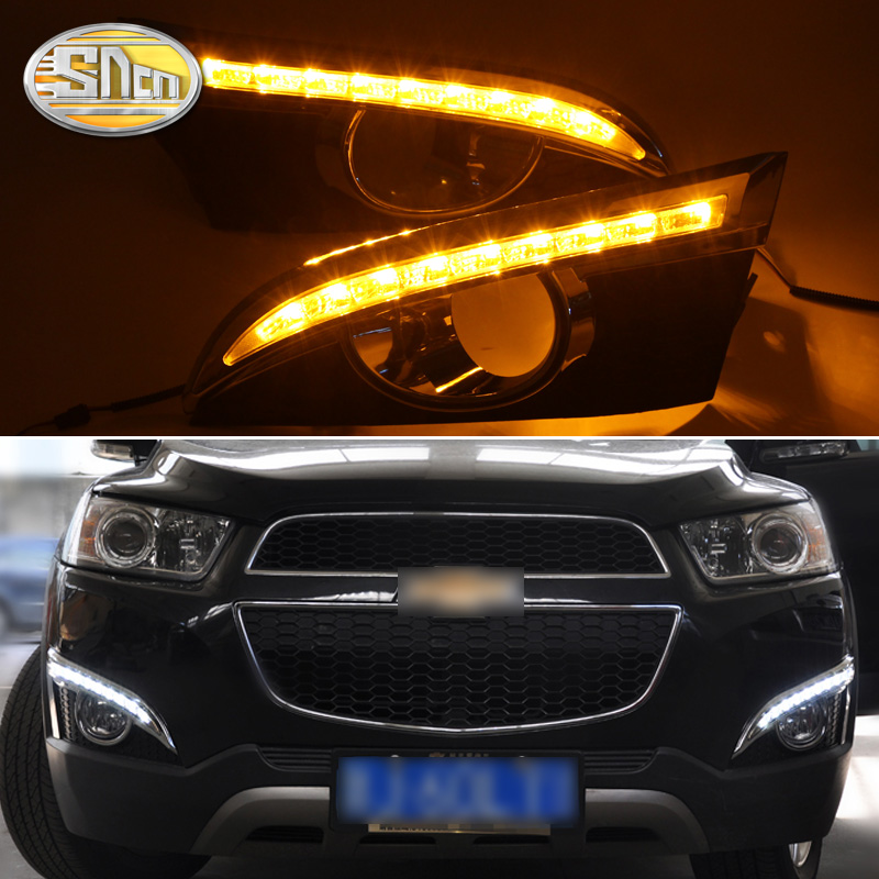 2 pcs LED Daytime Running Luz Para Chevrolet Captiva 2011 2012 2013 Função Sinal de Volta Amarelo 12 v Carro DRL luz de Nevoeiro da Decoração
