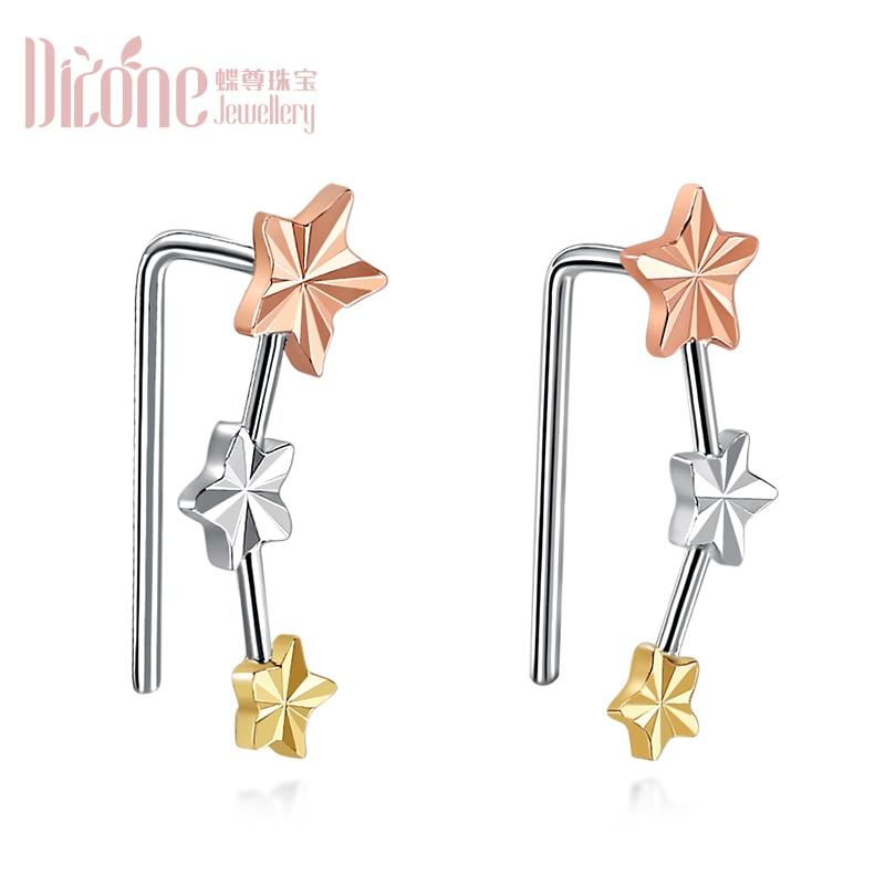 18K Golden Ear Row Pentagonal Star Coloured Gold Earrings Ornament Ear Bone Platinum Rose Gold Love