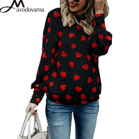 AVODOVAMA M Summer New Fashion Love Printing Long Sleeved Blouse Women S Casual Loose O Neck