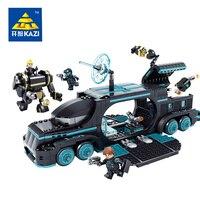KAZI 560Pcs Future Police City War X Agents Armor Chariot Car Model Mech Robot Building Blocks DIY Bricks Toys for children
