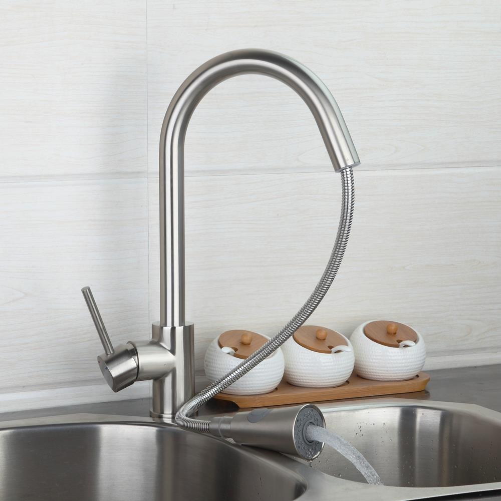 Nickel Brushed Kitchen Faucets Mixers Pull Out Spray Tap with 2 Water Way Vessel Sink Taps