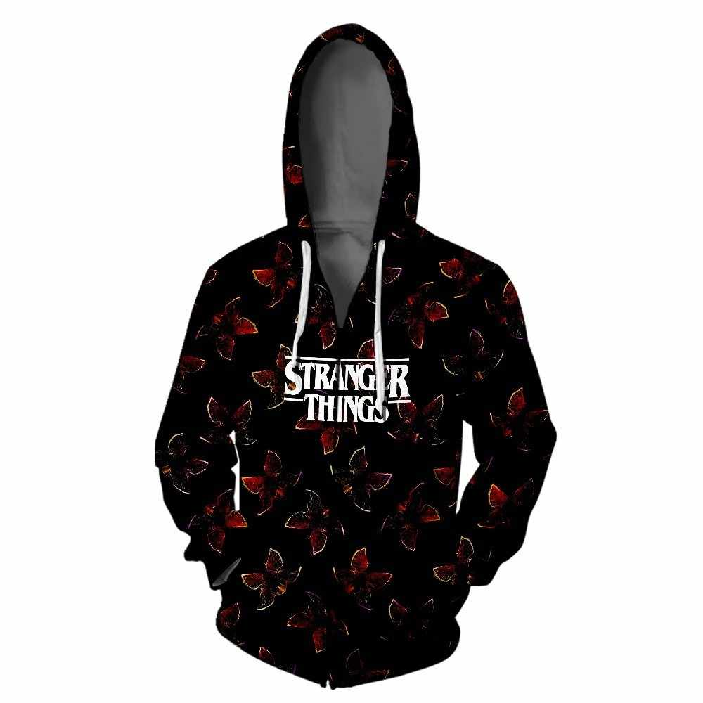 Dropship 3D Printed Hoodie 남성/여성/kid Stranger Things 3 스웻 셔츠 Tracksuit Hooded Stranger Things 후드 지퍼 자켓