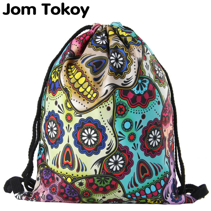 Jomtokoy  2019 New Skull Drawstring Bags 3D Printed Drawstring Backpack 27044