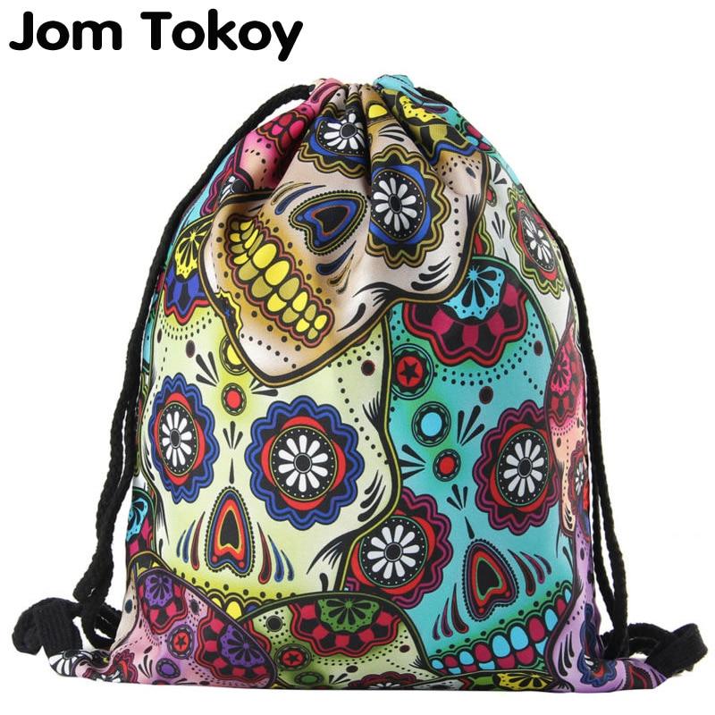 Jomtokoy  2019 New Skull Drawstring Bags 3D Printed Drawstring Backpack 27044