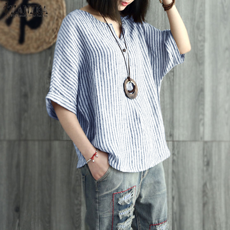 2019 ZANZEA Summer Striped   Blouse   Women V Neck Batwing Sleeve Cotton Linen   Shirt   Casual Loose Work Top Party Blusas Plus Size