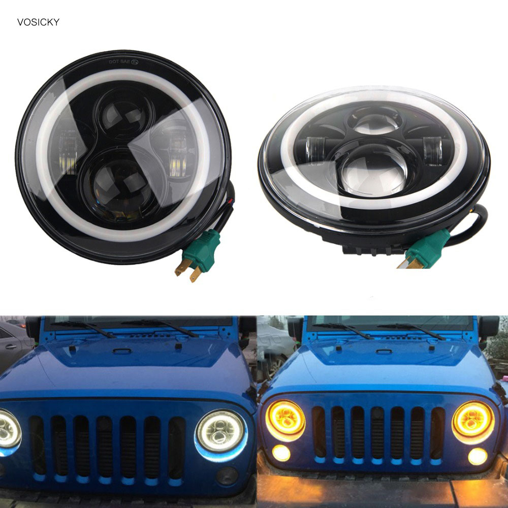 VOSICKY 7 Inch LED Halo Headlights Angel Eye For Jeep Wrangler JK CJ  Daymaker with Halo & DRL & Turn Signal Lights 40W
