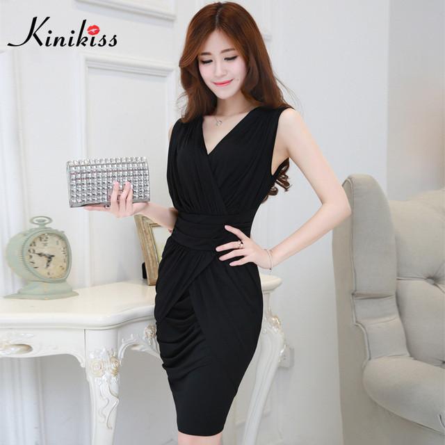 Kinikiss lápiz elegante slim dress office lady work dress mujeres de negocios negro wrap dress vaina bodycon sexy party dress