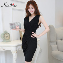 Kinikiss slim elegant pencil dress office lady work dress black business women wrap dress sheath sexy bodycon party dress