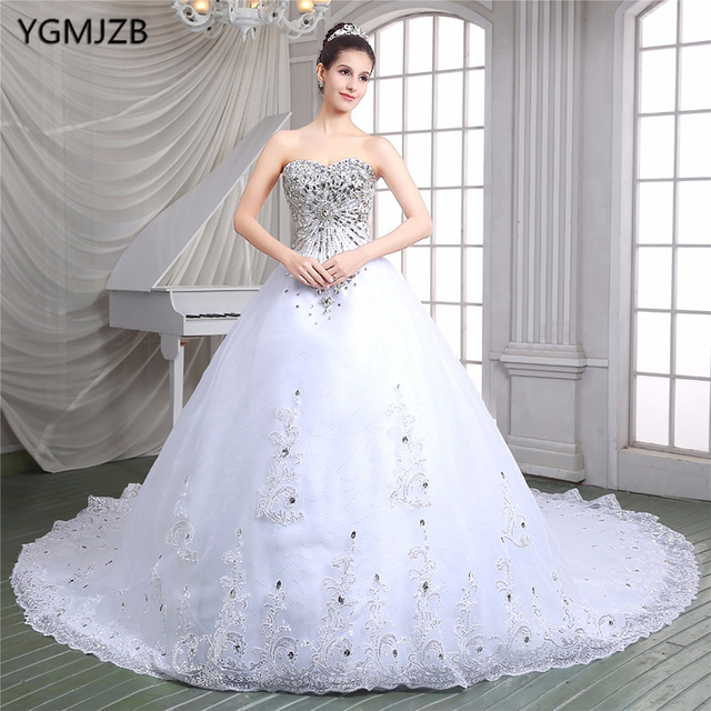 0da032c7e98 Vestido De Noiva 2018 Luxury Wedding Dresses Ball Gown Sweetheart Beaded  Crystal with Long Train Bridal Gown Bride Dresses