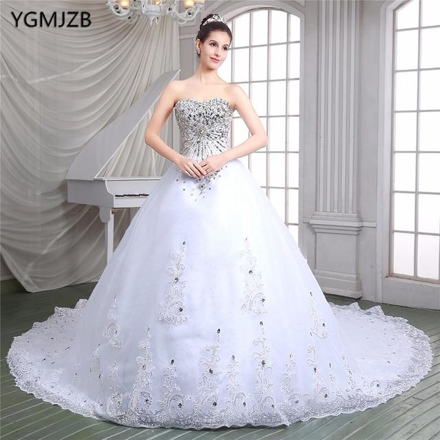Vestido De Noiva 2018 Luxus Brautkleider Ballkleid Schatz Perlen ...