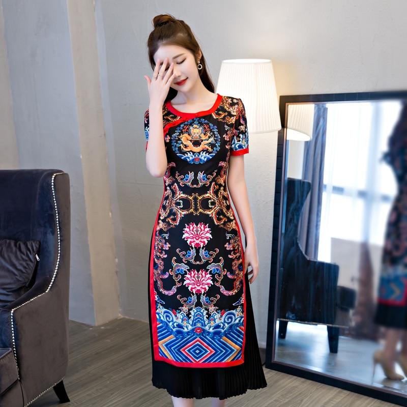 新しい花手作りボタンロングチャイナ中国女性ノベルティレーヨンドレス高品質スリムチャイナサイズs m l xl xxl 3xl  グループ上の レディース衣服 からの ドレス の中 2