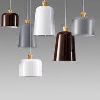 Новый современный Алюминий кулон из светлого дерева Барабаны подвесной светильник для бар Кофе Обеденная подвеска Освещение в помещении Л