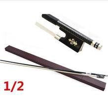 High quality violin bow size 1/2 violino Ebony wood Bow Top Horse hair violin accessory bow accessories para violino with Case