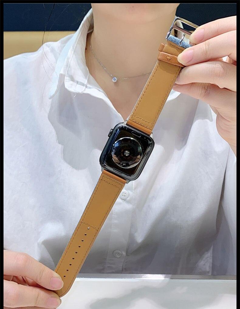 Nylon + bracelet en cuir véritable pour bracelet de montre Apple 42mm 38mm 44mm 40mm bracelet Iwatch série 5/4/3/2/1 bracelet bracelet ceinture accessoires