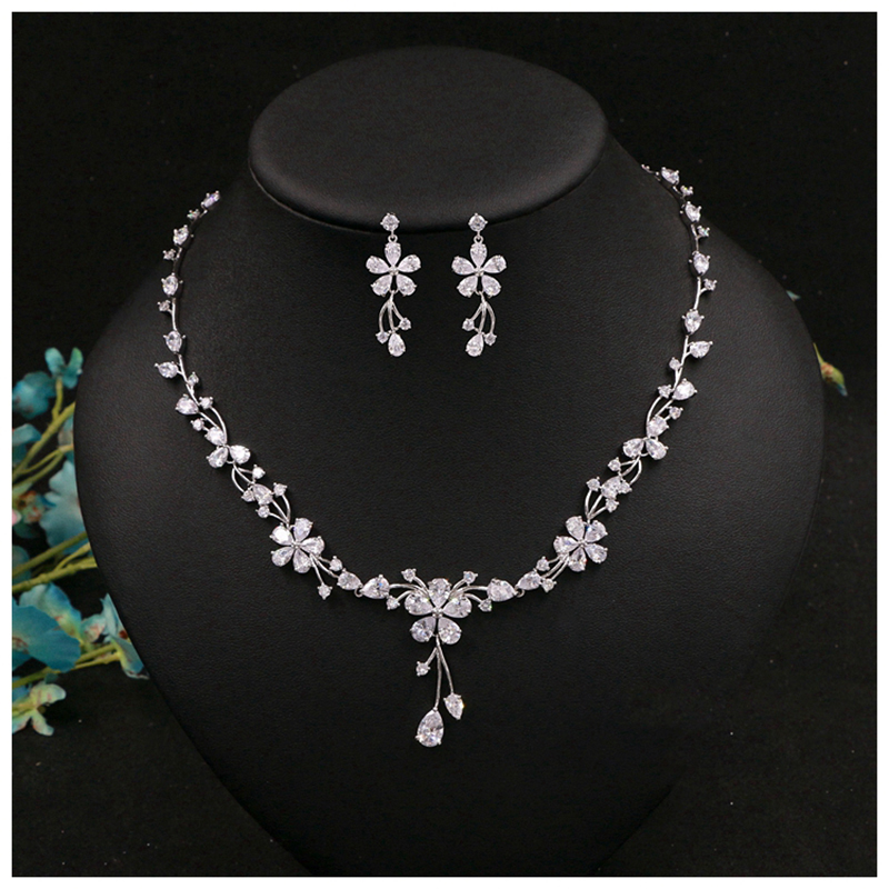 Cubic Zircon Sliver Color Necklace and Earrings Jewelry Sets Valentine's Day Choker Necklace Sets Prom Wedding Accessories