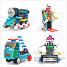 4 in 1 Remote control RC Train/Skiing/Duck/Fire fighting truck robot 170pcs Building blocks assembly electronic toy model gift
