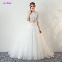 Luxury White Wedding Gowns 2017 New Sexy Scoop Tulle Appliques Beach Formal Bride Dress Long Ivory