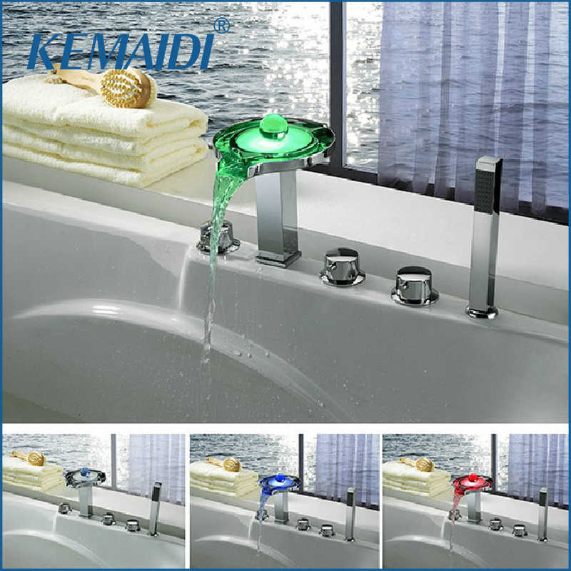 KEMAIDI New 5 Holes Deck Mounted LED Waterfall Faucets,Mixers & Taps Legendary Luminous Pearl Bathtub LED Faucet Set JN6501