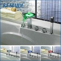 KEMAIDI New 5 Holes Deck Mounted LED Waterfall Faucets,Mixers & Taps Legendary Luminous Pearl Bathtub LED Faucet Set JN6501